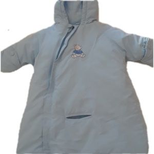 Blue embroidered bear zip up hooded coat